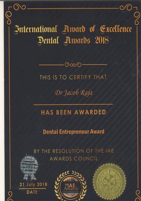 Dr. Jacob Raja – Best Dental Entrepreneur Award – International Award of Excellence Dental Awards – 2018