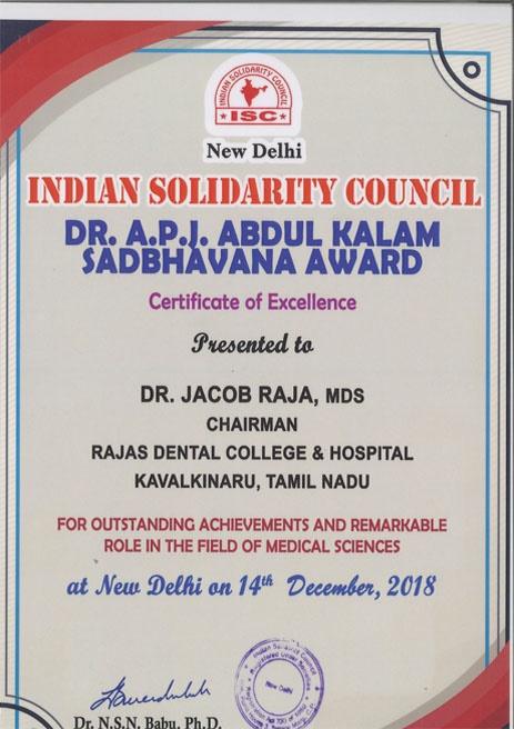 Dr. Jacob Raja – Dr. APJ Abdul Kalam Sadbhavana Award – 2018