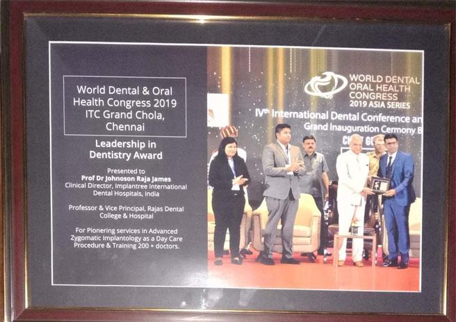 Dr. Johnson James Raja – Leadership in Dentistry Award – World Dental & Oral Health Congress – 2019