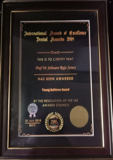 Dr. Johnson James Raja – Young Achiever Award – International Award of Excellence Dental Awards – 2018