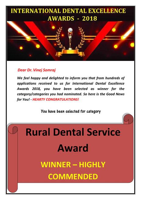 Dr. Vinej Somaraj - Rural Dental Service Award – International Dental Excellence Awards – 2018
