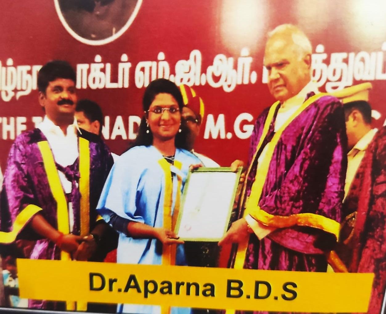Dr. Aparna - University Gold Medal - UG - Conservative Dentistry - 2018