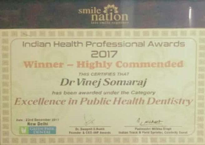 Dr. Vinej Somaraj – Excellence in Public Health Dentistry – Indian Health Professional Awards – 2017