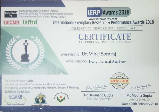 Dr. Vinej Somaraj – Best Dental Author Award – International Exemplary Research & Performance Awards – 2018