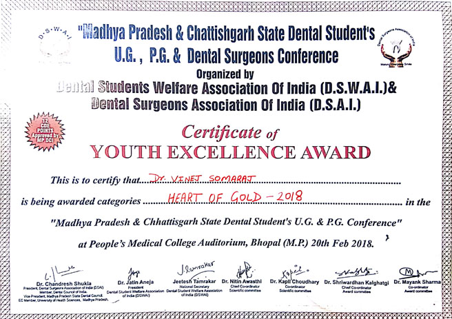 Dr. Vinej Somaraj – Heart of Gold Youth Excellence Award – 2018