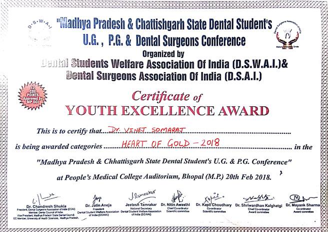 Dr. Vinej Somaraj – Heart of Gold Youth Excellence Award – 2018